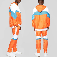 Hooded Color Block Track Jacket And Side Stripe Pants Set Nylon Tracksuits Sports